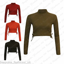 Ladies Women's Polo Turtle Neck RIBBED Tie Up Girl's Stretchy Crop Top SM ML