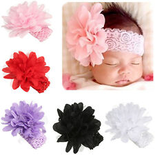 Infant Kid Girl Baby Headband Toddler Lace Bow Flower Hair Band Headwear White