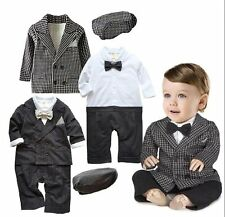 Baby Boy Wedding Tuxedo Suit+Jacket+Hat Dressy Christening Clothes Set 3-24M