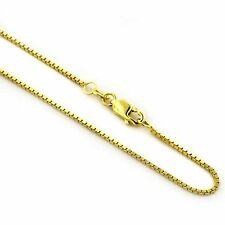 Real 14Kt Yellow Gold 1.5mm  Solid Italian  BOX Chain Necklace Lobster clasp