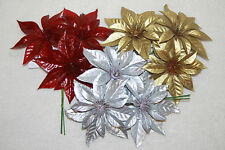 Artificial Poinsettia Pick On Wire Stems Christmas Wreath Floral Decoration