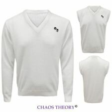 New Mens V-Neck Knitted Sweater White Lawn Bowls Bowling Jumper Tank Top