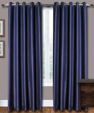 "Blue Faux Silk Curtains, 51"" (130cm) Wide  - Choice of Plain Top, Length, Lining"
