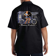 Dickies Black Mechanic Work Shirt Timeless Tradition USA Motorcycle Pin Up Girl