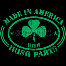 Made In America With Irish Parts Ireland Pride Funny T-Shirt Tee