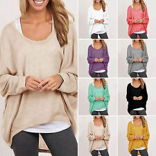 Women's O-neck Baggy Knitted Tunic Jumper Casual Loose Long Sleeve Pullover Tops