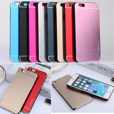 Luxury Metal Aluminum Brushed + PC Hard Back Cover Case Skin For iPhone Samsung