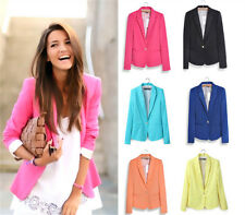 Women Candy Color Long Sleeve Button Slim Casual Blazer Suit Jacket Coat Outwear