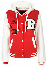 NEW LADIES BASEBALL R JACKET VARSITY COLLEGE CASUAL GYM  HOODED JACKET 8 - 14