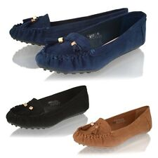 Womens ladies tassel loafers ballet dolly school moccasin office pumps shoes