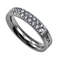 True Love Waits Ring with Purity Christian Bible Verse, Stainless Steel with CZ