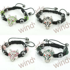 Fashion Rhinestone Wolf Disco Ball Beads Braiding Adjustable Shamballa Bracelet