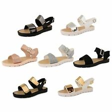 Womens Strappy Sandals Slingbacks Ladies Summer Cleated Sole Flatform Shoes Size