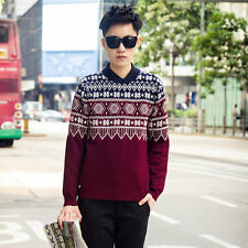 Mens Neck Round Pullover Sweater Long Sleeve Knitwear Slim Fit Casual Sweaters