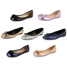 New Womens Flat Pumps Ladies Glitter Ballet Ballerina Dolly Loafer Shoes Girls