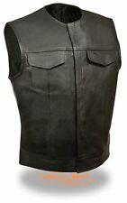 Mens Black Leather Motorcycle Biker Vest with Concealed Snaps & Gun Pocket