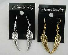Hand made Silver and Gold tone Guardian Angel Wings drop dangle earrings