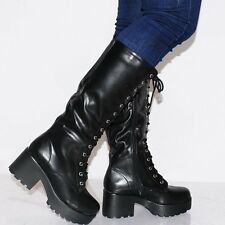 LADIES BLACK LACE UP KNEE HIGH BOOTS BLOCK CHUNKY HIGH HEELS PLATFORM SHOES