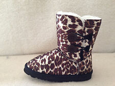 UGG Boots 2 Button Synthetic Wool Colour Brown Leopard Multi size
