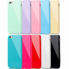 Slim TPU Rubber Gel Case Cover For iPhone 4 4S 5 5S 5C 6S Plus +Screen Protector