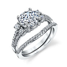 Sterling Silver CZ Engagement Wedding Ring Set Cubic Zirconia with Matching Band
