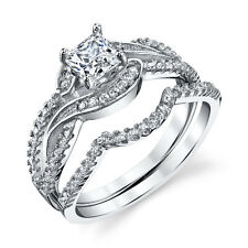 925 Sterling Silver CZ Engagement Wedding Ring Set Cubic Zirconia Scroll Design