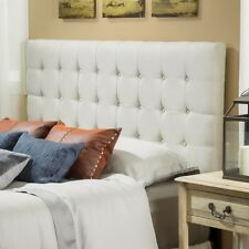 Tufted Headboard Modern Fabric Leather Full Queen Bed Adjustable Upholstered