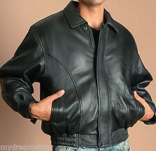 Genuine Leather MAXXSEL Men's Real Lamb Skin Bomber Jacket S-5XL