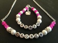 Girls Personalised Hello Kitty Necklace And Bracelet Charm Set