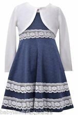Bonnie Jean Girls Blue Dress Lace White Bolero Party Holiday Sp Occasion 2 3 4