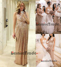 Rose Gold Sequins V-neck Long Sheath Bridesmaid Dresses Prom Wedding Party Gown