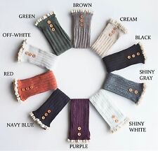Women Cute Boot Socks Cable Knit Buttons Lace Ruffle Knee High Christmas Gift