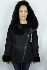 Black Suede Sheepskin Shearling Leather Lambskin Toscana Hood Jacket Coat XS-5XL