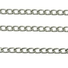 Steel Curb Chain - Silver Plated - 4 Sizes - For Jewellery Making x 1 Metre