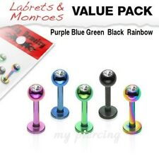 5 Pcs Value Pack of Assorted Color Titanium IP Labret Monroe Tragus with Gem Top