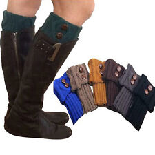 Women Winter Leg Warmers Socks Button Crochet Knit Boot Socks Toppers Cuffs Q