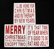 Xmas Christmas Sign Block  Home Wall Décor Plaque Box Glitter Funny Saying Quot