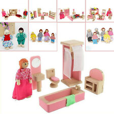 DollHouse Wooden Furniture Miniature 5Rooms Set Kids Children Pretend Toy Gift