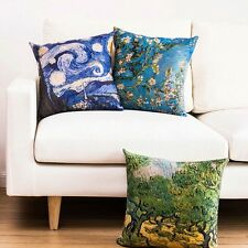 The Starry Night Van Gogh Oil Painting Linen Throw Cushion Cover Pillow Case