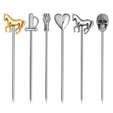 Homestia 6pcs Stainless Steel Sticks Bar Fruit Cocktail Drinking Picks Pub Decor