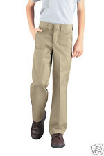 New Dickies Boy's School Uniform Classic Fit Plain Flat Front Straight Leg Pants
