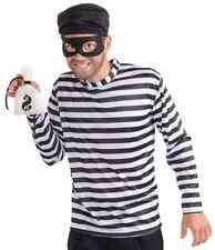 Burglar Thief Robber Striped Shirt Retro Fancy Dress Up Halloween Adult Costume