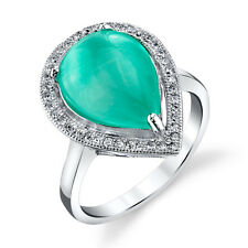 Sterling Silver Tear Drop Pear Shape Teal Cats Eye Ring with Cubic Zirconias CZ
