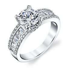 Sterling Silver CZ Engagement Wedding Ring Set with 2 Carat Cubic Zirconia
