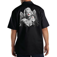 Dickies Black Mechanic Work Shirt Sexy Marilyn Monroe Angel Deuce Pin Up Girl