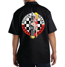 Dickies Black Mechanic Work Shirt Bigger Spark Better Bang Pin Up Girl