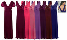 LADIES LONG CHEMISE NIGHT DRESS NIGHTDRESS SATIN NIGHTIE SLIP ROBE GOWN 16-18