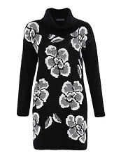 New Marks And Spencer Cowl Neck Black White Floral Print Tunic Jumper Dress 8-16