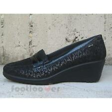 Shoes Enval Soft Moccasin Womens 49533 Suede Leopard Black Wedge Made in Italy