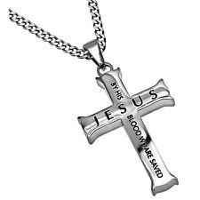 Romans 5:9 Jewelry JESUS Cross Necklace Bible Verse, Stainless Steel Curb Chain